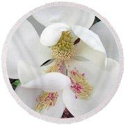 Unfolding Beauty Of Magnolia Round Beach Towel