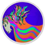 Unicorn For Candy Round Beach Towel