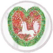 Unicorn Heart With Millefleurs Round Beach Towel by Lise Winne