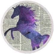 Unicorn In Space Round Beach Towel by Jacob Kuch
