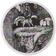 Round Beach Towel featuring the drawing Unicorn by Loxi Sibley