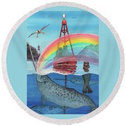 Unicorn Of The Sea Round Beach Towel