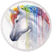 Unicorn Rainbow Watercolor Round Beach Towel