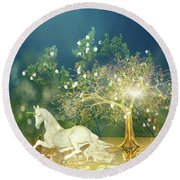 Unicorn Resting Series 2 Round Beach Towel