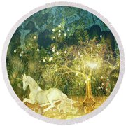 Unicorn Resting Series 3 Round Beach Towel