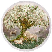 Round Beach Towel featuring the mixed media Unicorn Rose Tree by Carol Cavalaris