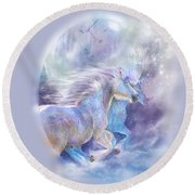 Round Beach Towel featuring the mixed media Unicorn Soulmates by Carol Cavalaris