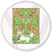 Unicorn With Shamrock Round Beach Towel
