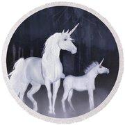 Unicorns In The Mist Round Beach Towel