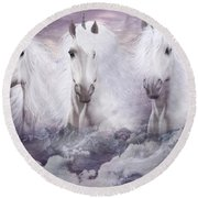 Unicorns Of The Mountains Round Beach Towel