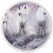 Unicorns Of The Mountains Round Beach Towel
