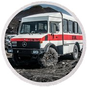 Unimog On Mt. Etna Round Beach Towel