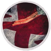 Union Jack Fine Art, Abstract Vision Of Great Britain Flag Round Beach Towel