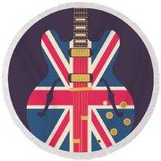 Union Jack Guitar - Original Black Round Beach Towel