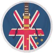 Union Jack Guitar - Original Blue Round Beach Towel