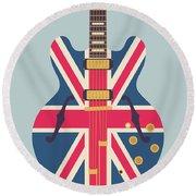 Union Jack Guitar - Original Grey Round Beach Towel