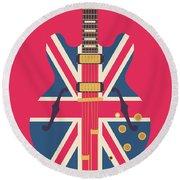 Union Jack Guitar - Original Red Round Beach Towel