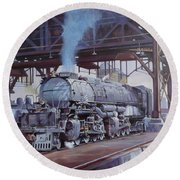 Round Beach Towel featuring the painting Union Pacific Big Boy by Mike  Jeffries