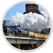 Union Pacific Steam Engine 844 And Castle Rock Round Beach Towel by Eric Nielsen