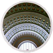 Union Station Ceiling 2 Round Beach Towel by Randall Weidner