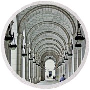 Round Beach Towel featuring the photograph Union Station Exterior Archway by Suzanne Stout