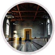 Round Beach Towel featuring the photograph Union Station Los Angeles by Kyle Hanson