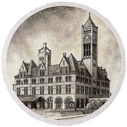 Union Station Mixed Media Round Beach Towel