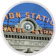 Union Station Sign Round Beach Towel