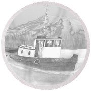 Tugboat Union Round Beach Towel