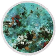 Round Beach Towel featuring the painting Unique Abstract Art / Landscape Painting by Ayse Deniz