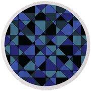 Round Beach Towel featuring the digital art Unique Bold Hip Blue Cyan Grey Black Geometric Pattern by Shelley Neff