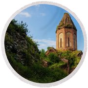 Unique Kirants Monastery On A Sunny Day, Armenia Round Beach Towel