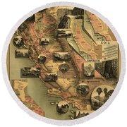 Unique Map Of California 1888 Round Beach Towel