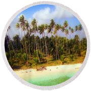 Unique Symbolic Island Art Photography Icon Zanzibar Sands Beaches Tourist Destination. Round Beach Towel