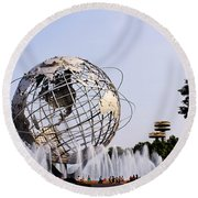 Unisphere Fountain Round Beach Towel