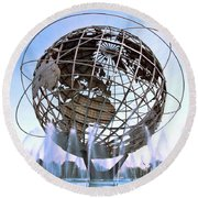 Unisphere With Fountains Round Beach Towel