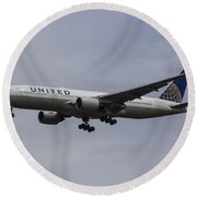 United Airlines Boeing 777 Round Beach Towel
