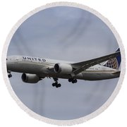 United Airlines Boeing 787 Round Beach Towel