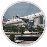 United Airlines Round Beach Towel