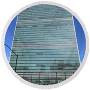 Round Beach Towel featuring the photograph United Nations 3 by Randall Weidner