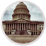United States Capitol Building Round Beach Towel