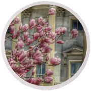 United States Capitol - Magnolia Tree Round Beach Towel by Marianna Mills