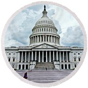 Round Beach Towel featuring the photograph United States Capitol by Suzanne Stout