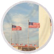 United States Flags At The Base Round Beach Towel