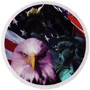 United States Of America 032 Round Beach Towel