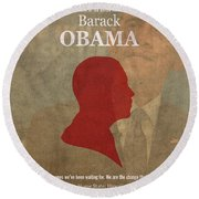 United States Of America President Barack Obama Facts Portrait And Quote Poster Series Number 44 Round Beach Towel by Design Turnpike