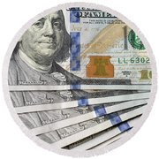 United States Usd 100 Note Closeup Round Beach Towel