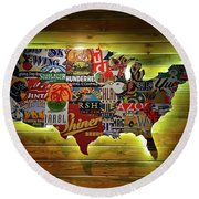 United States Wall Art Round Beach Towel