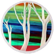 Round Beach Towel featuring the photograph United Trees by Munir Alawi