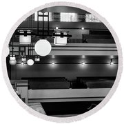 Unity Temple Interior Black And White Round Beach Towel
